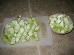 cut ridge gourd into medium sized pieces