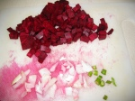 cut the beetroot, onions and green chillies